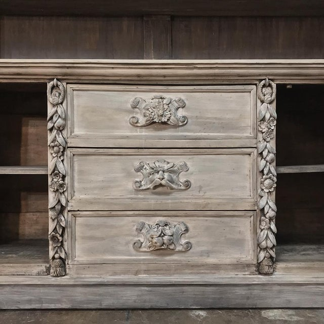 Mid 19th Century 19th Century Grand Hand Carved Stripped Oak English Bookcase For Sale - Image 5 of 12