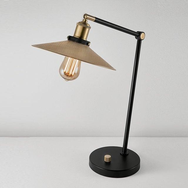 Art Deco Brass and Satin Black Radar Desk Lamp For Sale - Image 3 of 5
