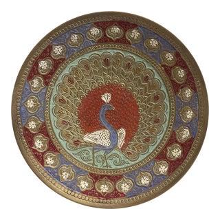 Decorative Boho Brass Peacock Plate