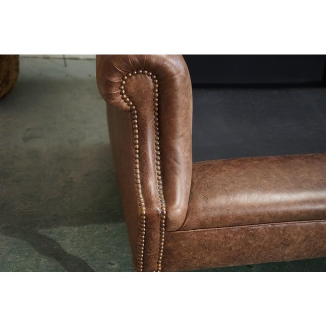 """Animal Skin Modern George Smith 70"""" Chocolate Brown Leather Three Seater Sofa For Sale - Image 7 of 11"""