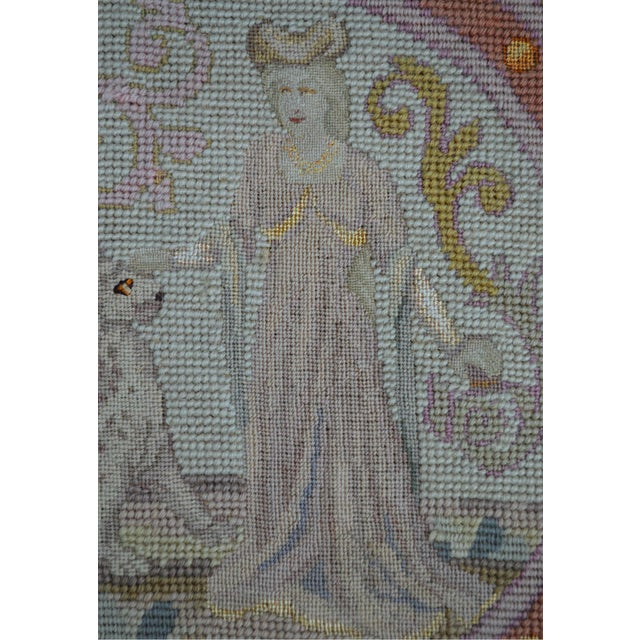 Lathe 19th Century Wool Needlepoint Panel With Lady and Cheetah For Sale - Image 4 of 13
