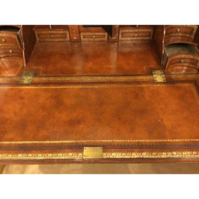 Gold Maitland Smith Traditional Tooled Leather Secretary Desk For Sale - Image 8 of 10