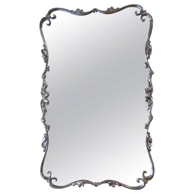 Large Mid-Century Nickel Mirror For Sale