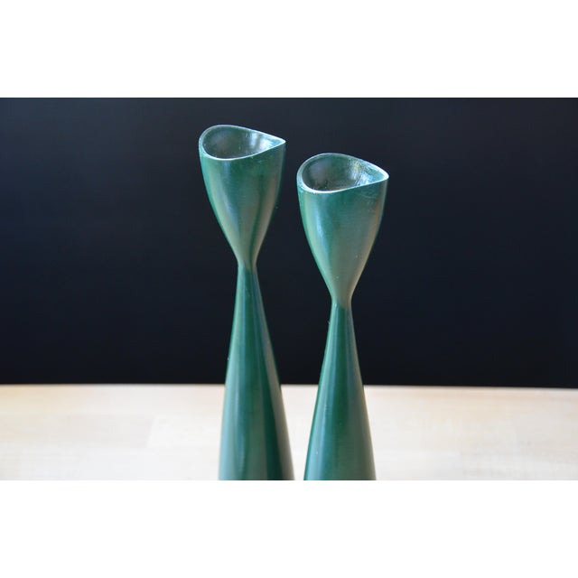 Danish Modern Green Candle Holders - a Pair - Image 4 of 7