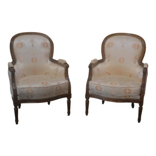 French Louis XVI Style Bergere Chairs - A Pair For Sale
