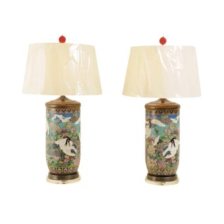 Jaw-Dropping Pair of Large-Scale Vintage Cloisonne Vessels as Custom Lamps For Sale