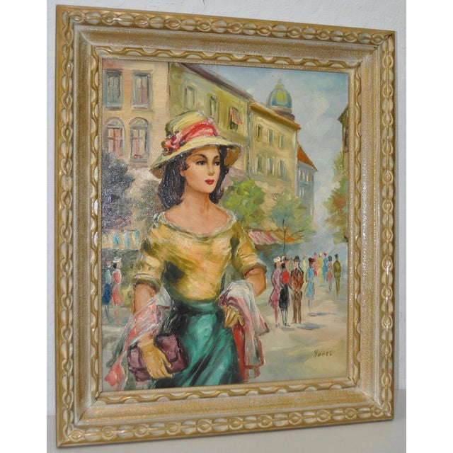 Mid Century European Oil Painting c.1950s Again, the focus of the painting is a young American woman in Europe. The view...