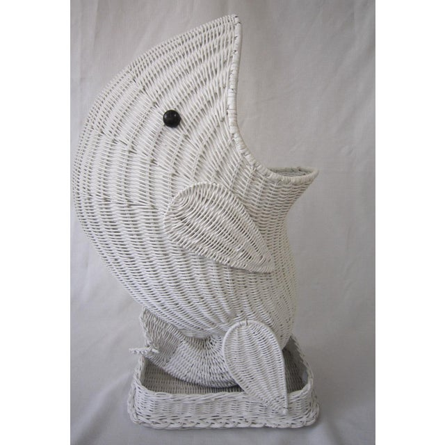 """Awesome wicker whale, presented in white wicker. The whale stands 30"""" tall! With mouth agape, this is a great piece for..."""