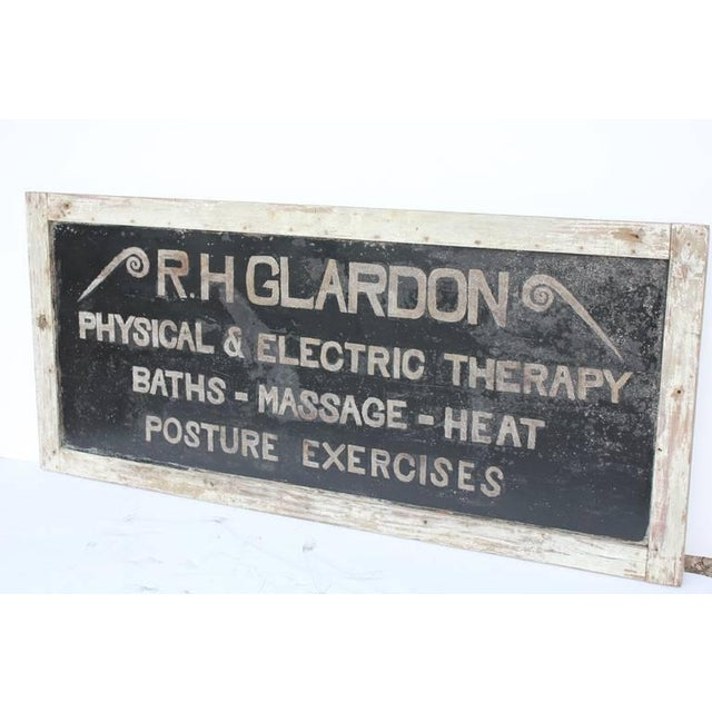 """Antique tin sign """"Physical & Electric Therapy"""" framed in original wooden frame. Newly restored."""