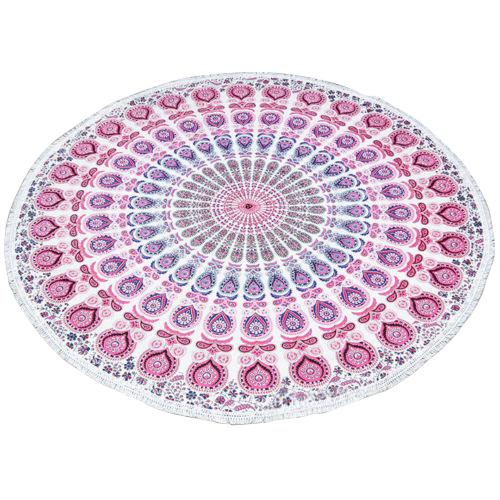 A pink, blue & white boho chic beach blanket or roundie with a repeating mandala type pattern. Ideal for use as a picnic...