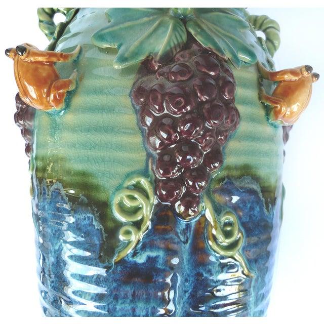 Ceramic Glazed Majolica Pottery Grapes & Frogs Motif Vase For Sale - Image 7 of 9