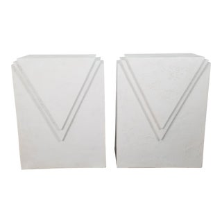 Postmodern Geometric Plaster Pedestal Table Bases - a Pair For Sale