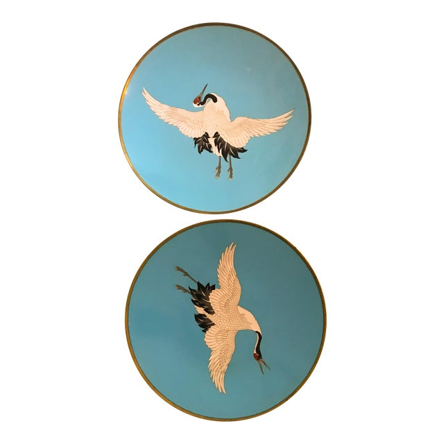 Large Turquoise Bird Platters - a Pair For Sale