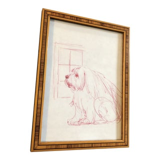 Original Vintage Red Ink Sketch Drawing Dog 1970s Inlaid Wood Frame For Sale
