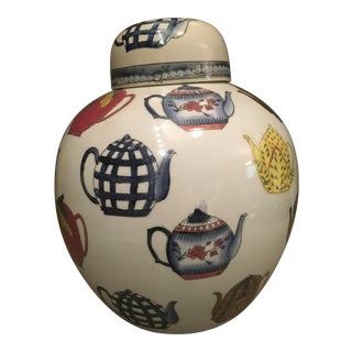 Ceramic Ginger Jar with Hand Painted Teapot Motif For Sale