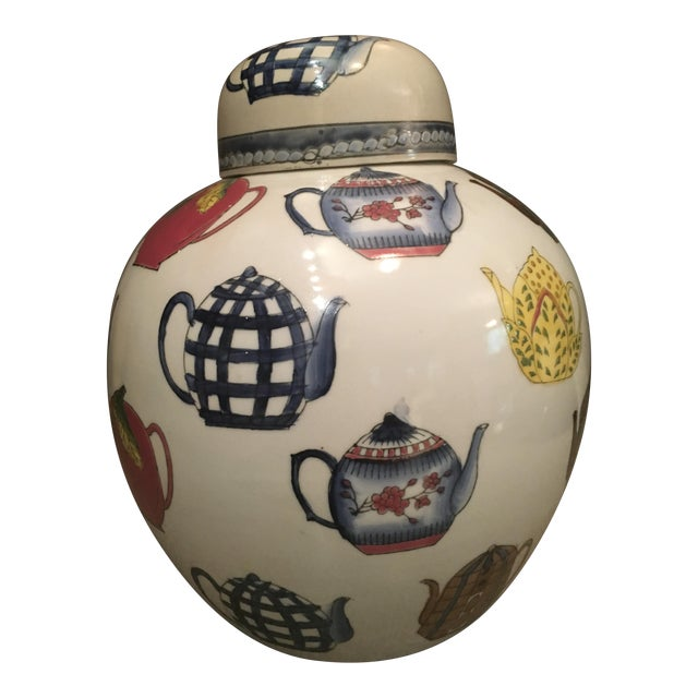 Ceramic Ginger Jar with Hand Painted Teapot Motif - Image 1 of 7