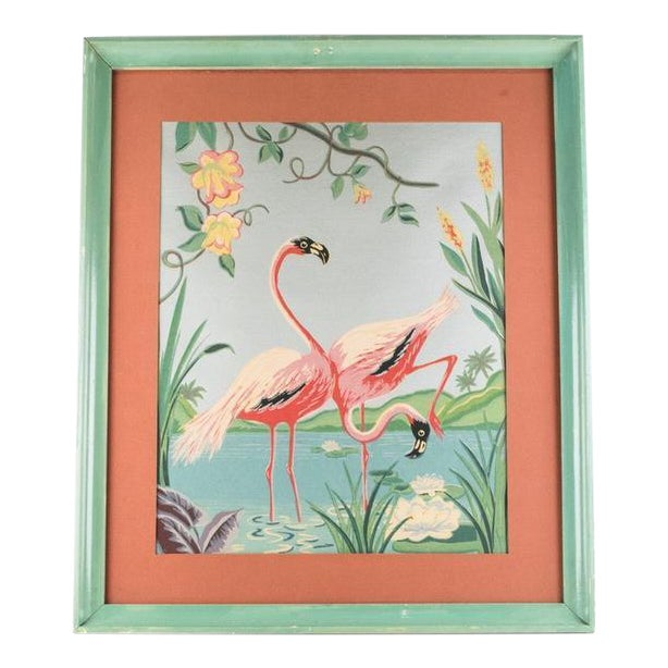 Vintage Mid-Century Flamingo Painting By M. Devoe For Sale