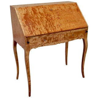 1910s Biedermeier Revival Golden Birch Secretary Desk For Sale