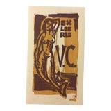 Image of Art Deco Female Nude Block Print Bookplate 1930s For Sale