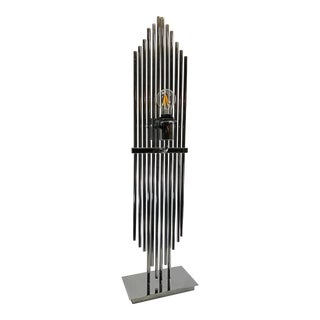 1970s Vintage Chrome Rod Waterfall Table Lamp For Sale