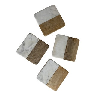 Marble and Wood Coasters - Set of 4 For Sale