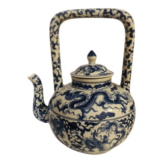 Dragon Design Blue and White Teapot For Sale