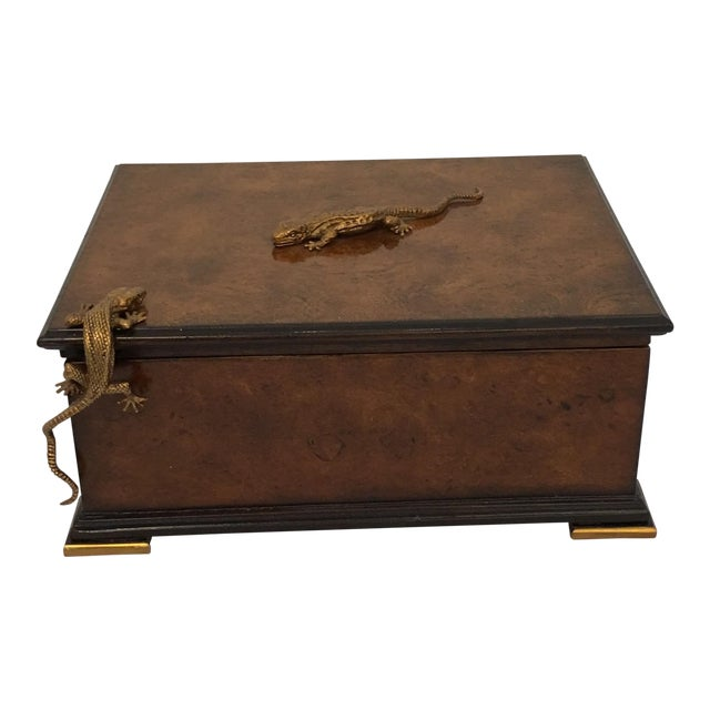 Traditional Theodore Alexander Walnut Decorative Box For Sale