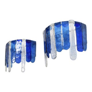 1970s Feders Blue Handblown Glass Wall Sconces, Mexico - a Pair For Sale