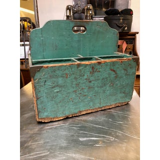 1940s Vintage Teal-Hand-Painted Wood-Crafted Tool and Art Supplies Work Box Preview