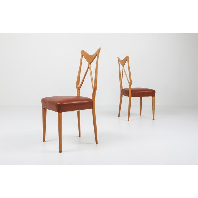 1970s Oak & Leather Dining Chairs in the Style of Ponti - Set of 6 For Sale - Image 6 of 12