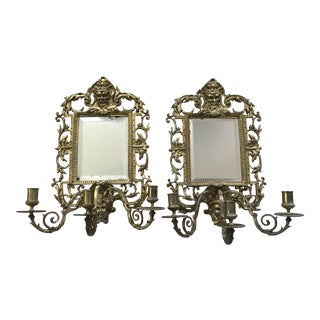 Antique Solid Brass Beveled Mirror With Triple Candle Sconces - a Pair For Sale