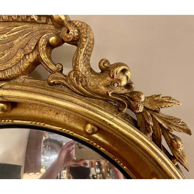 Federal Style Convex Eagle Carved Mirror, Wall, Console Mirror For Sale - Image 9 of 13