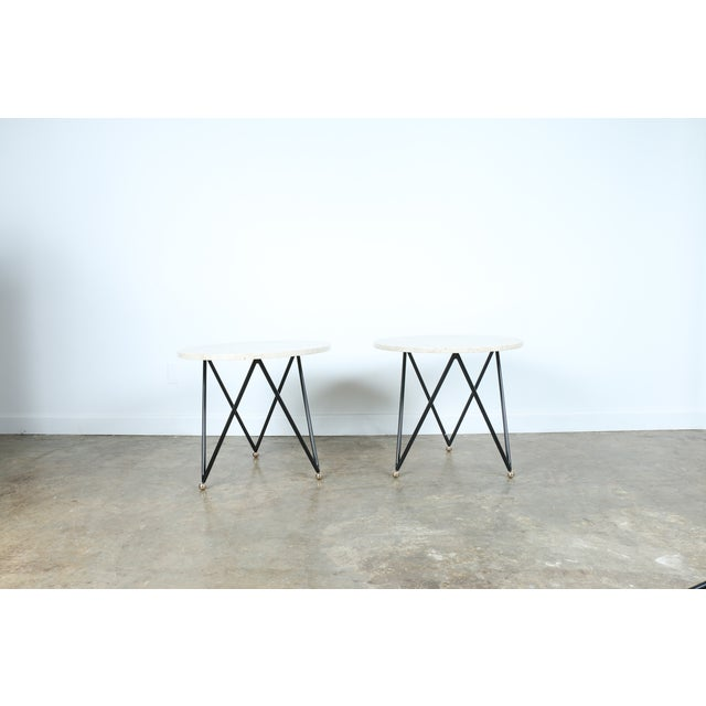 Wrought Iron Marble Top Side Tables - A Pair - Image 2 of 10