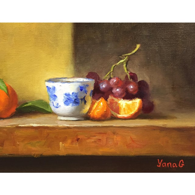 Still Life with Flower Pot, Tangerines and Grapes - Image 2 of 3