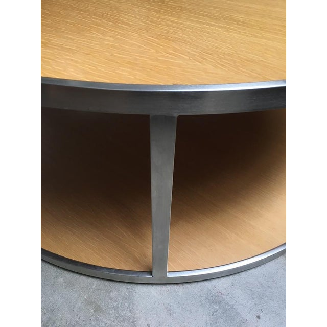 Modern Circular Modern Stainless Steel and Oak Coffee Table For Sale - Image 3 of 11