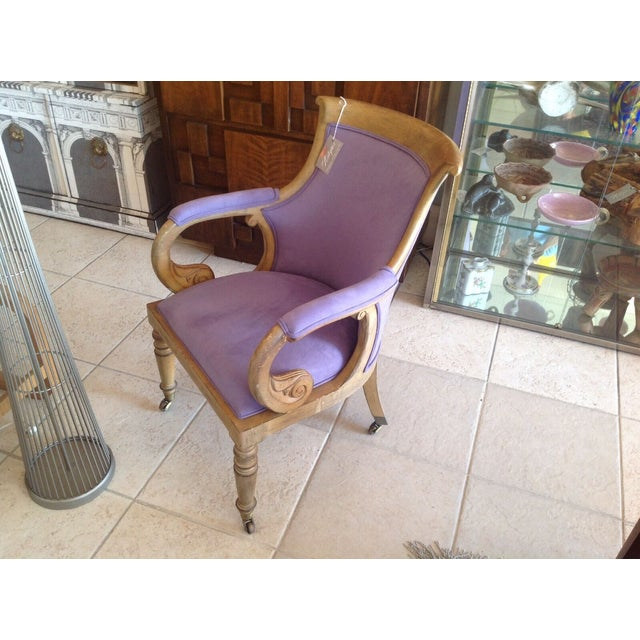 Italian Scroll Desk Chair New Lush Lilac Fabric Mid Century Modern For Sale - Image 4 of 4