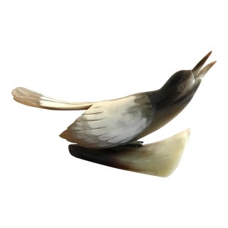 Vintage Italian Carved Horn Bird Sculpture For Sale