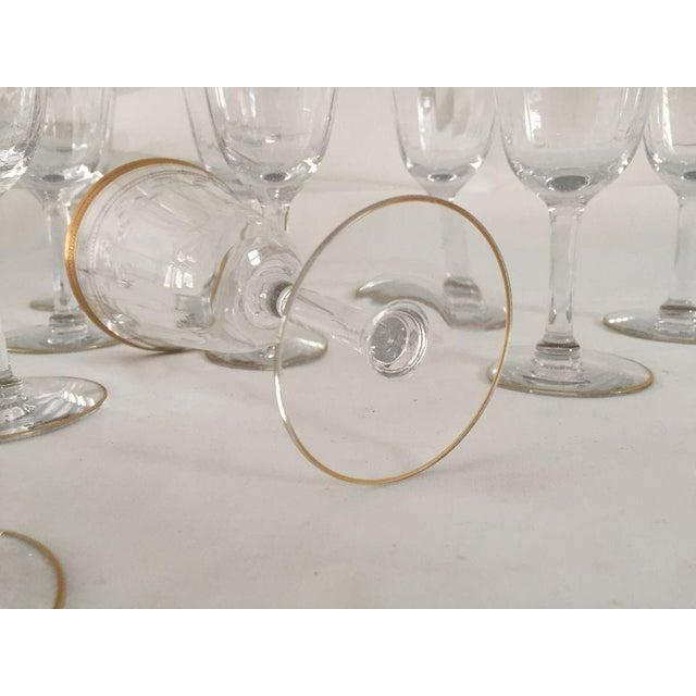 1930s Vintage Gold Rim Etched Wine Glasses - Set of 10 For Sale - Image 5 of 7