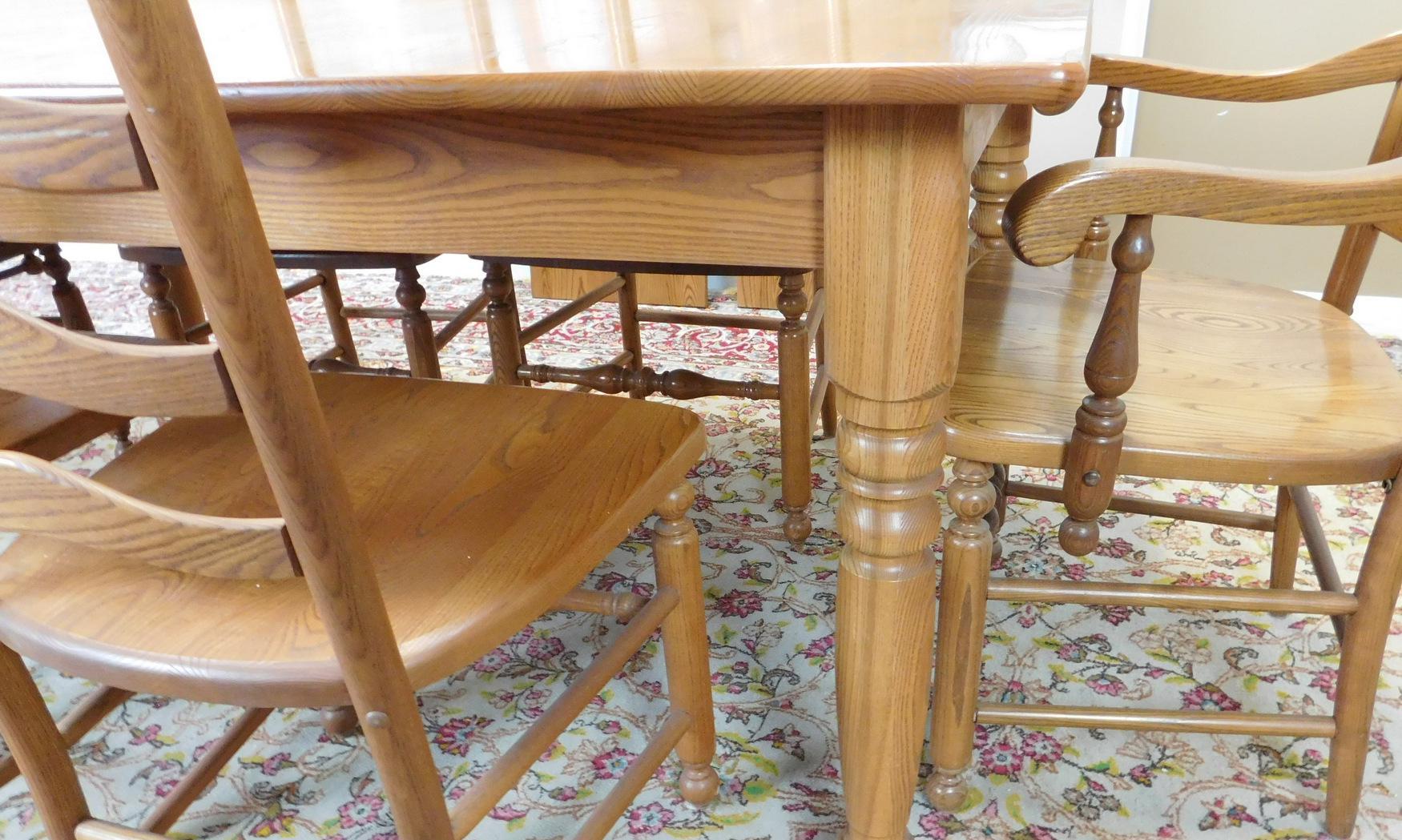 S Bent Bros Solid Oak Dining Set Kitchen Table 6 Ladder Back