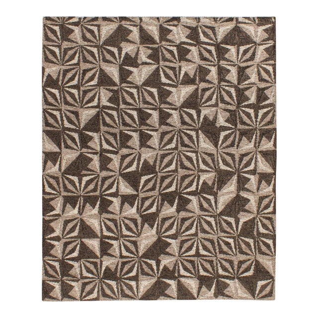 Solo Rugs Grit and Ground Collection Contemporary Samoa Hand-Knotted Flatweave Area Rug, Gray, 8' X 10' For Sale
