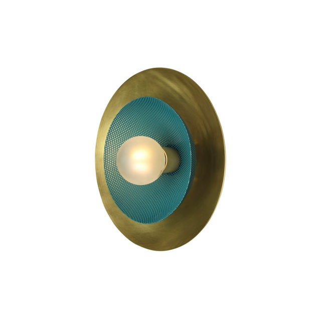 Blueprint Lighting Centric Wall Sconce in Solid Brass + Teal Enamel Mesh Blueprint Lighting 2019 For Sale - Image 4 of 5