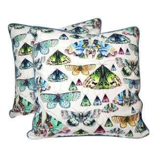 Contemporary Designer's Guild Butterfly Print Pillows- a Pair For Sale