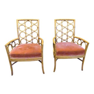 Modern Laura Kirar for McGuire Ringback Arm Chairs- A Pair For Sale