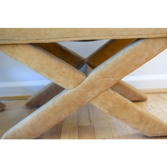 """Mid-Century Modern Vintage Mid Century Tan Mohair """"X"""" Benches- A Pair For Sale - Image 3 of 12"""