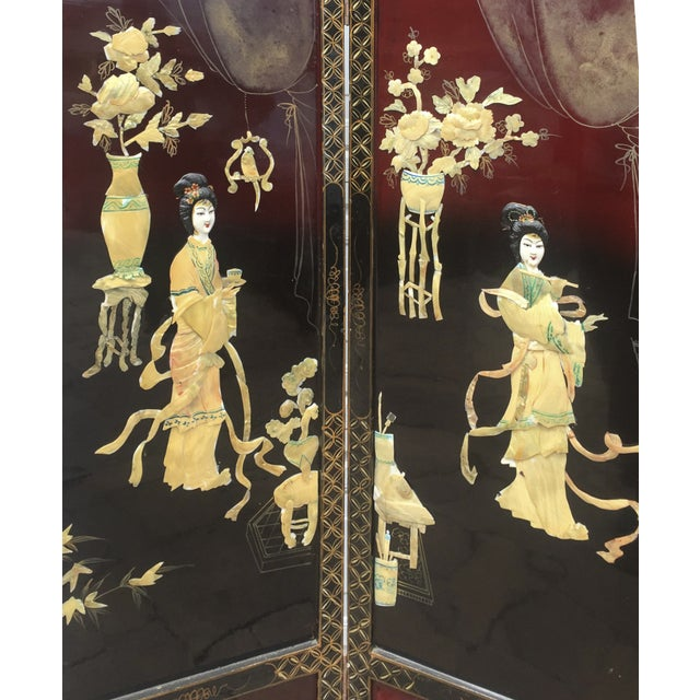 Asian Lacquered Mother of Pearl Screen For Sale - Image 7 of 8