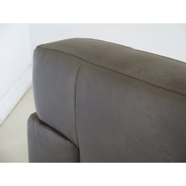 Gray Modern Grey Leather 2 Cushion Sofa For Sale - Image 8 of 11