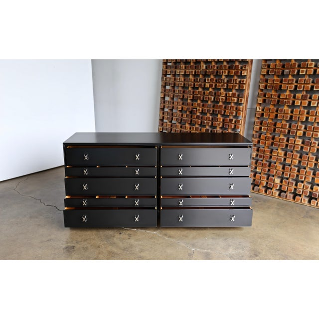 1950s Mid-Century Modern Paul Frankl for Johnson Furniture Company Ebonized Chest For Sale - Image 11 of 13
