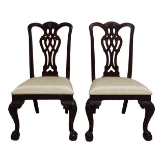 Maitland Smith Mahogany Chippendale Dining Room Side Chairs - a Pair For Sale
