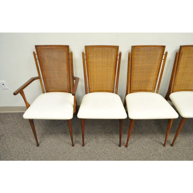 Vintage woodcraft mid century danish modern cane teak for Mid century modern dining chairs vintage