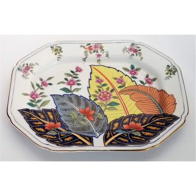 Offering a vintage Japanese porcelain tobacco leaf tray, signed 1977. This lovely rectangular tray was most likely never...